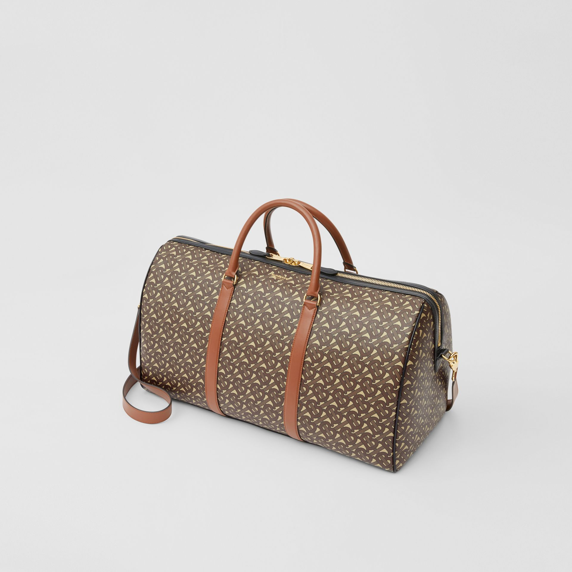 Monogram Print E-canvas and Leather Holdall in Bridle Brown - Men | Burberry - gallery image 3