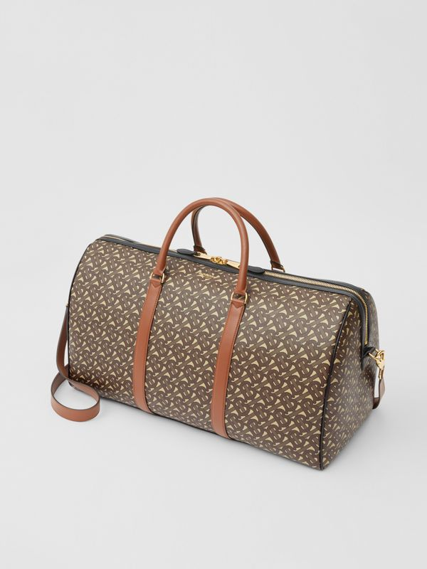Monogram Print E-canvas and Leather Holdall in Bridle Brown - Men | Burberry - cell image 3