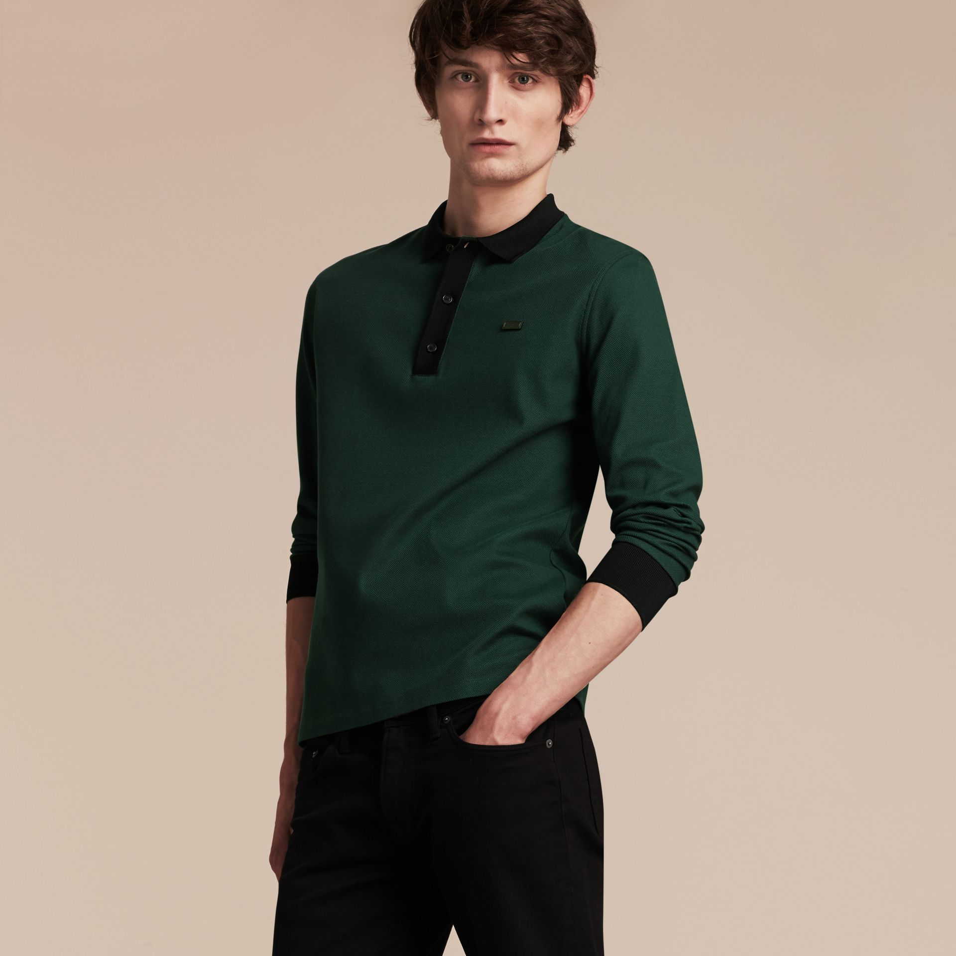 Forest green/black Long-sleeved Cotton Piqué Polo Shirt Forest Green/black - gallery image 6