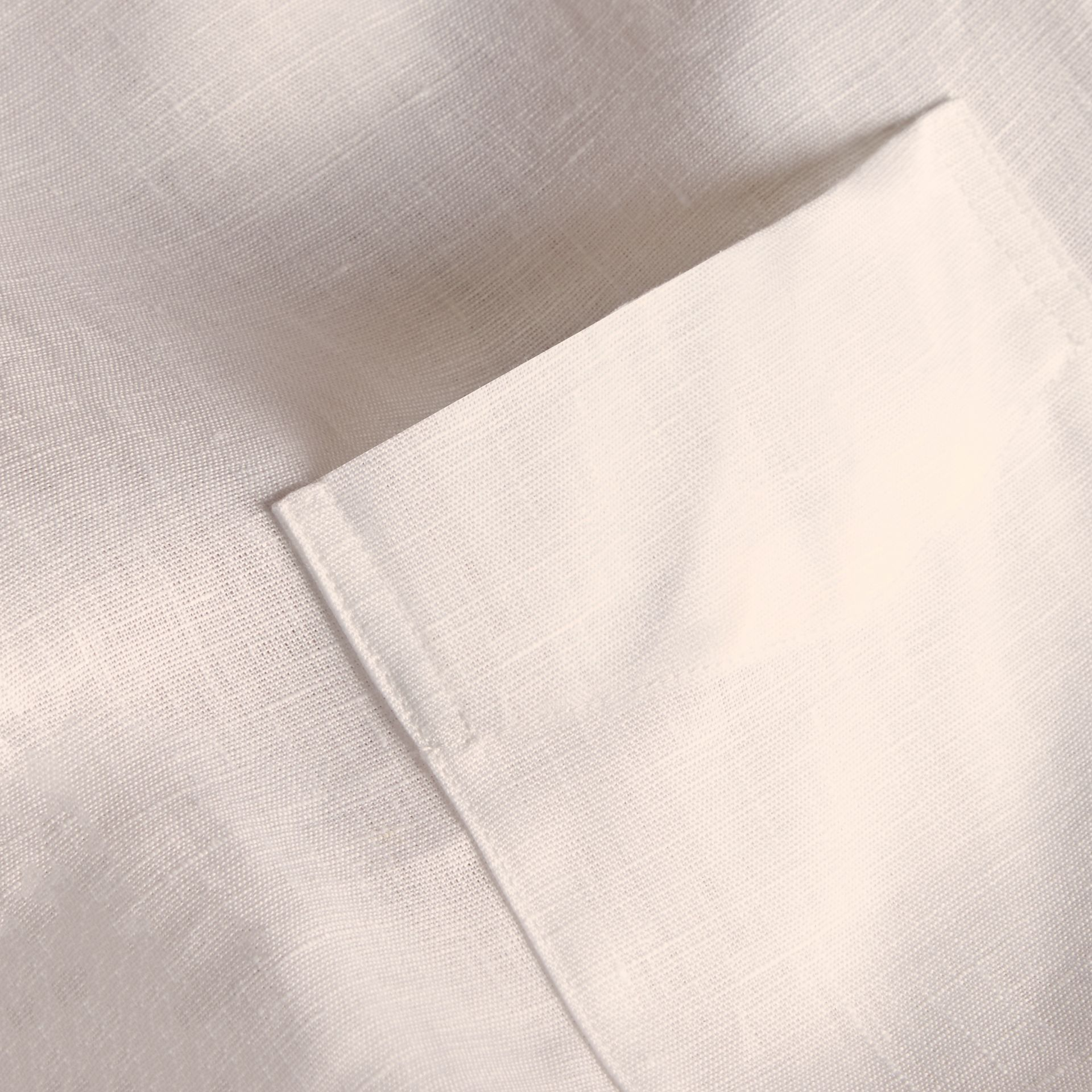 Check Detail Linen Shirt in White - Men | Burberry - gallery image 2