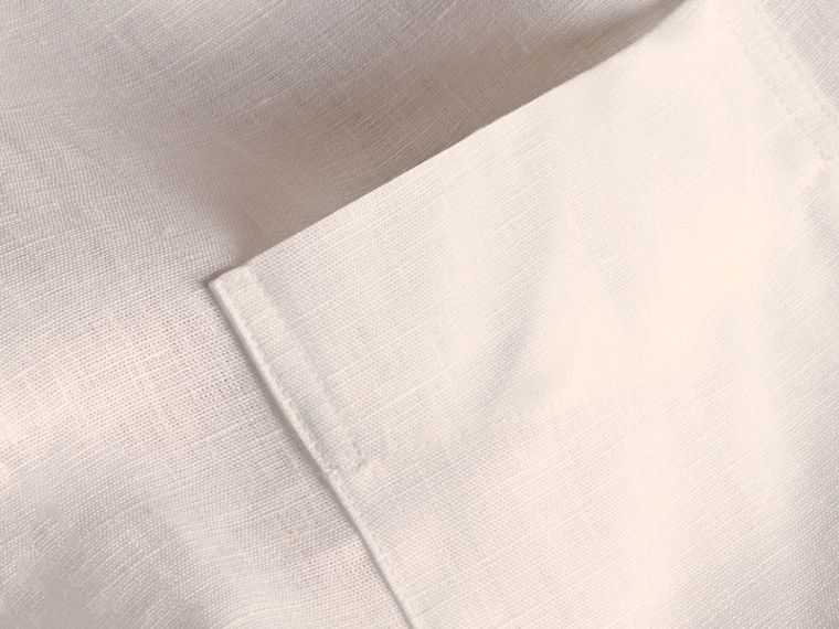 Check Detail Linen Shirt in White - Men | Burberry - cell image 1