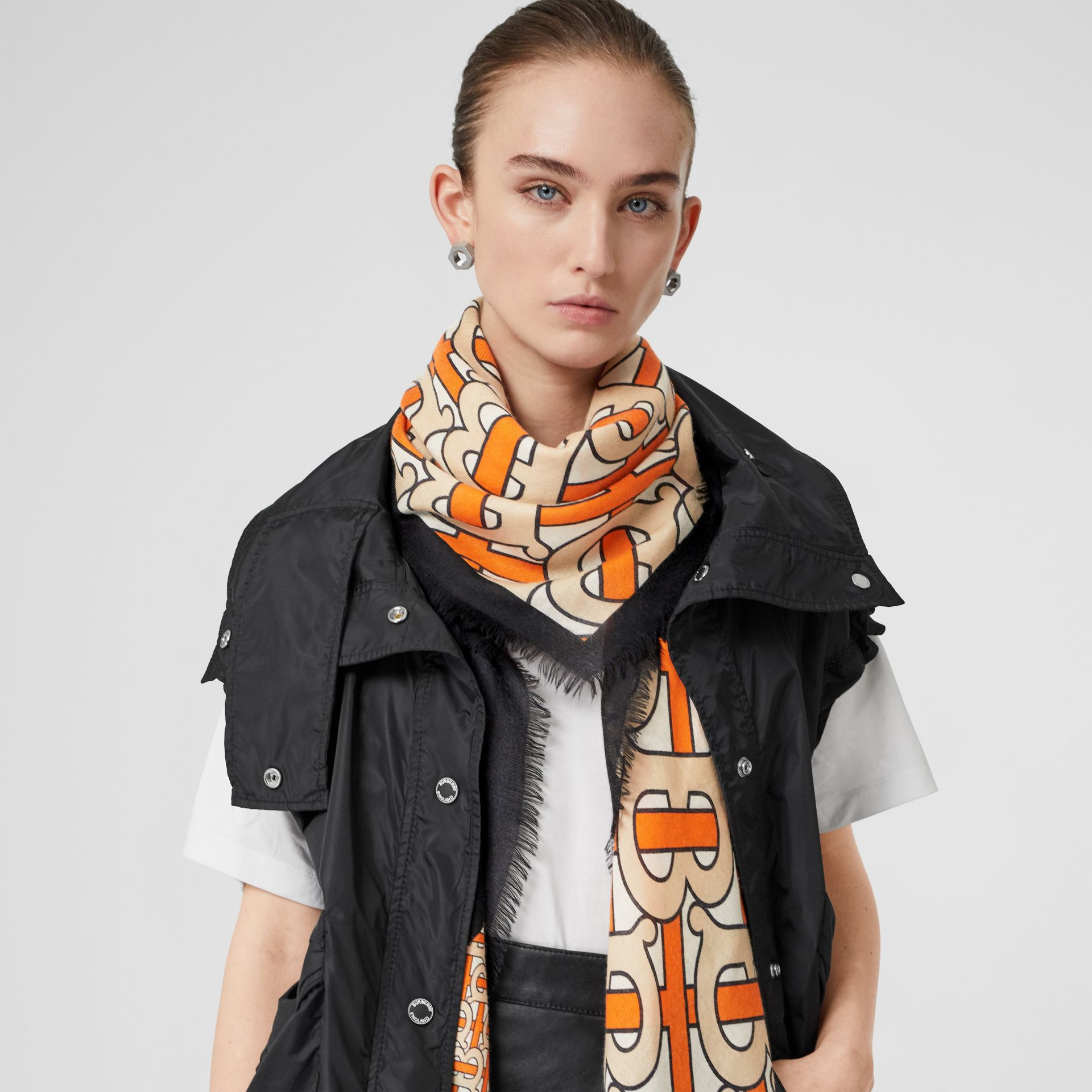 Monogram Print Cashmere Large Square Scarf in Bright Orange | Burberry - gallery image 2