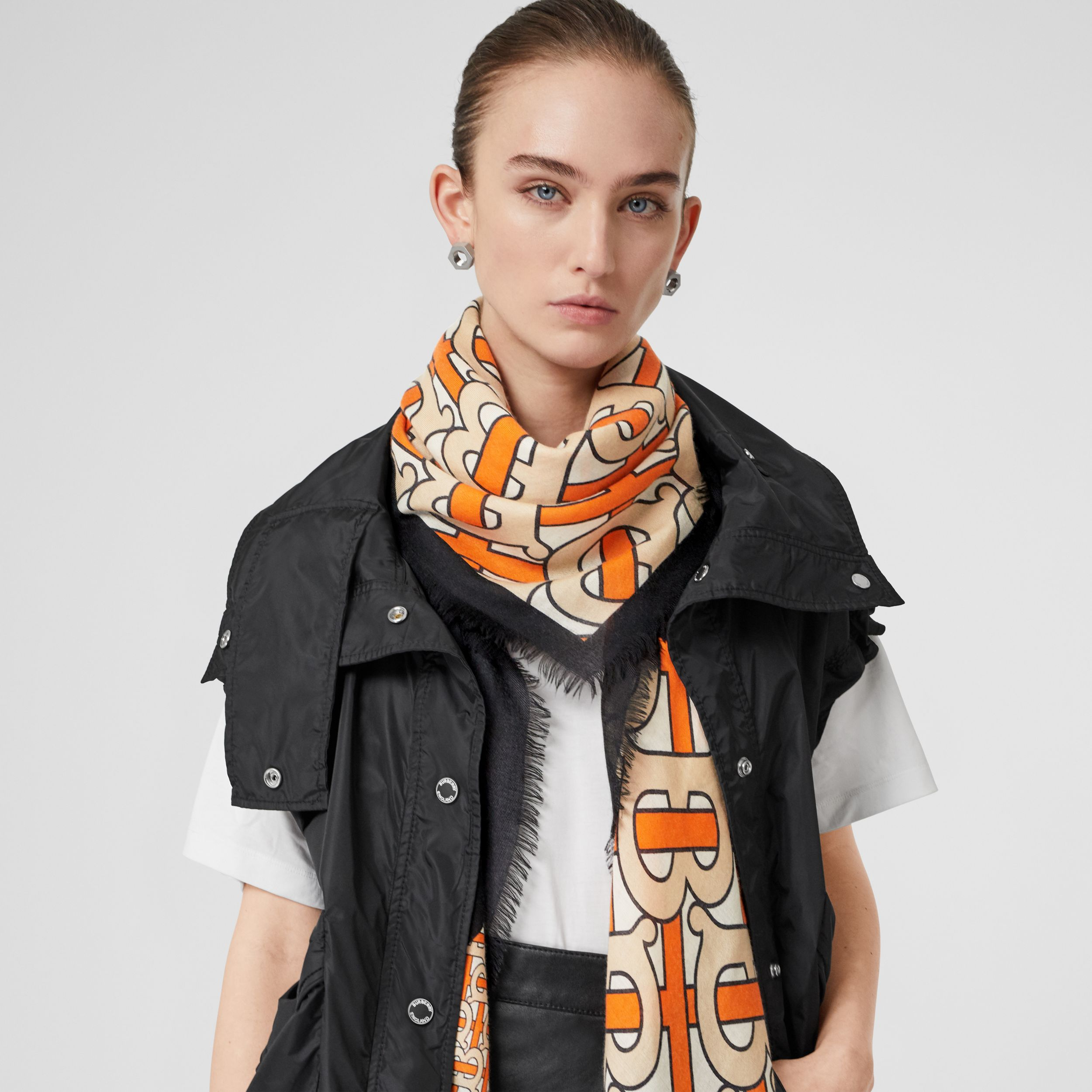 Monogram Print Cashmere Large Square Scarf in Bright Orange | Burberry - 3