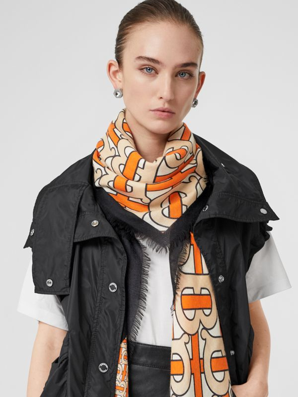Monogram Print Cashmere Large Square Scarf in Bright Orange | Burberry - cell image 2