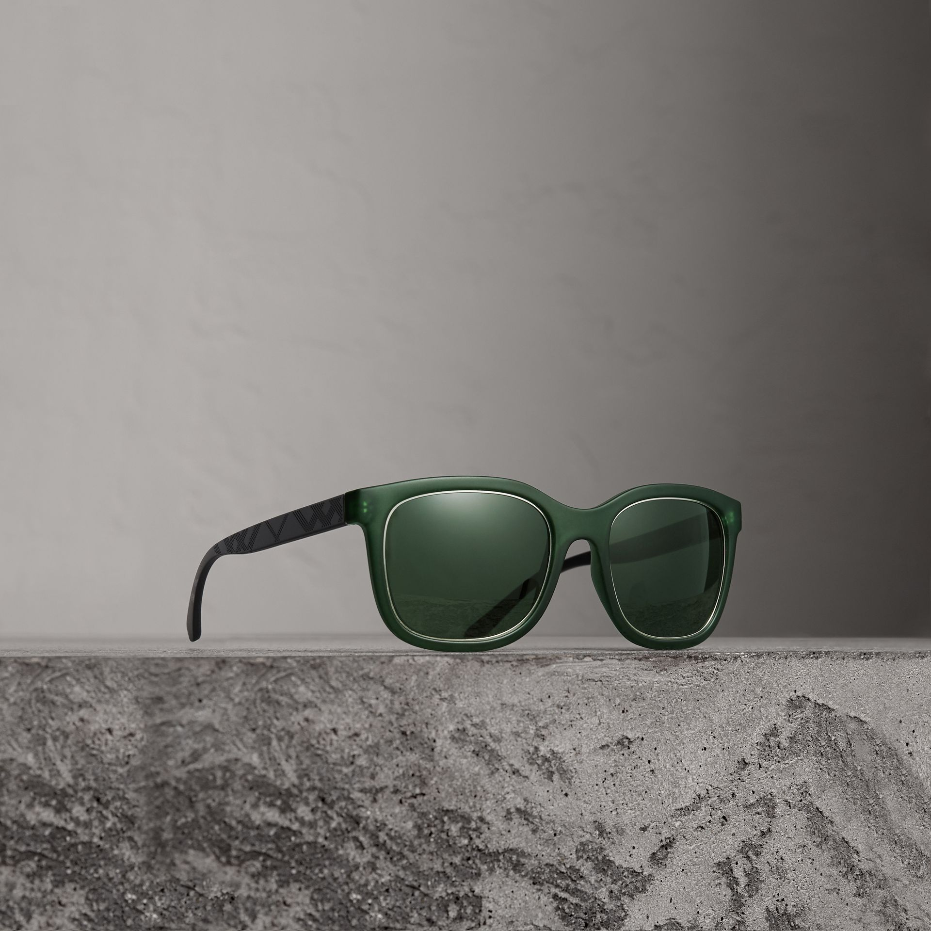 Embossed Check Detail Square Frame Sunglasses in Smokey Green - Men | Burberry - gallery image 0