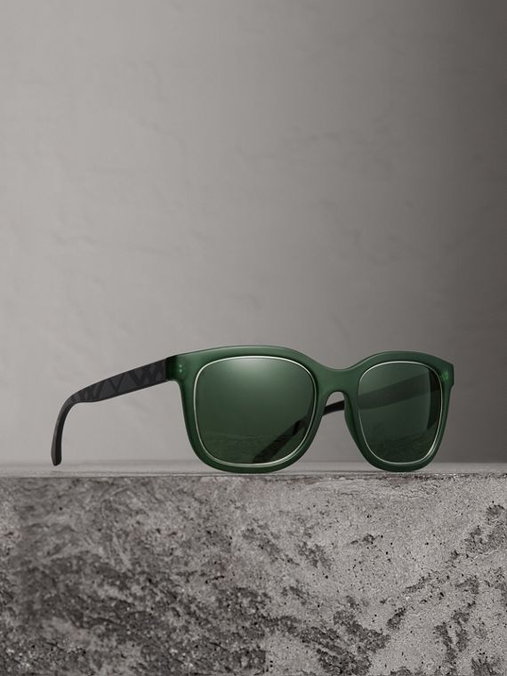 Embossed Check Detail Square Frame Sunglasses in Smokey Green