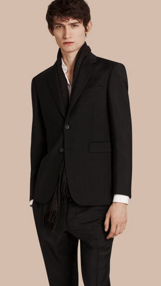 Modern Fit Wool Mohair Part-canvas Jacket