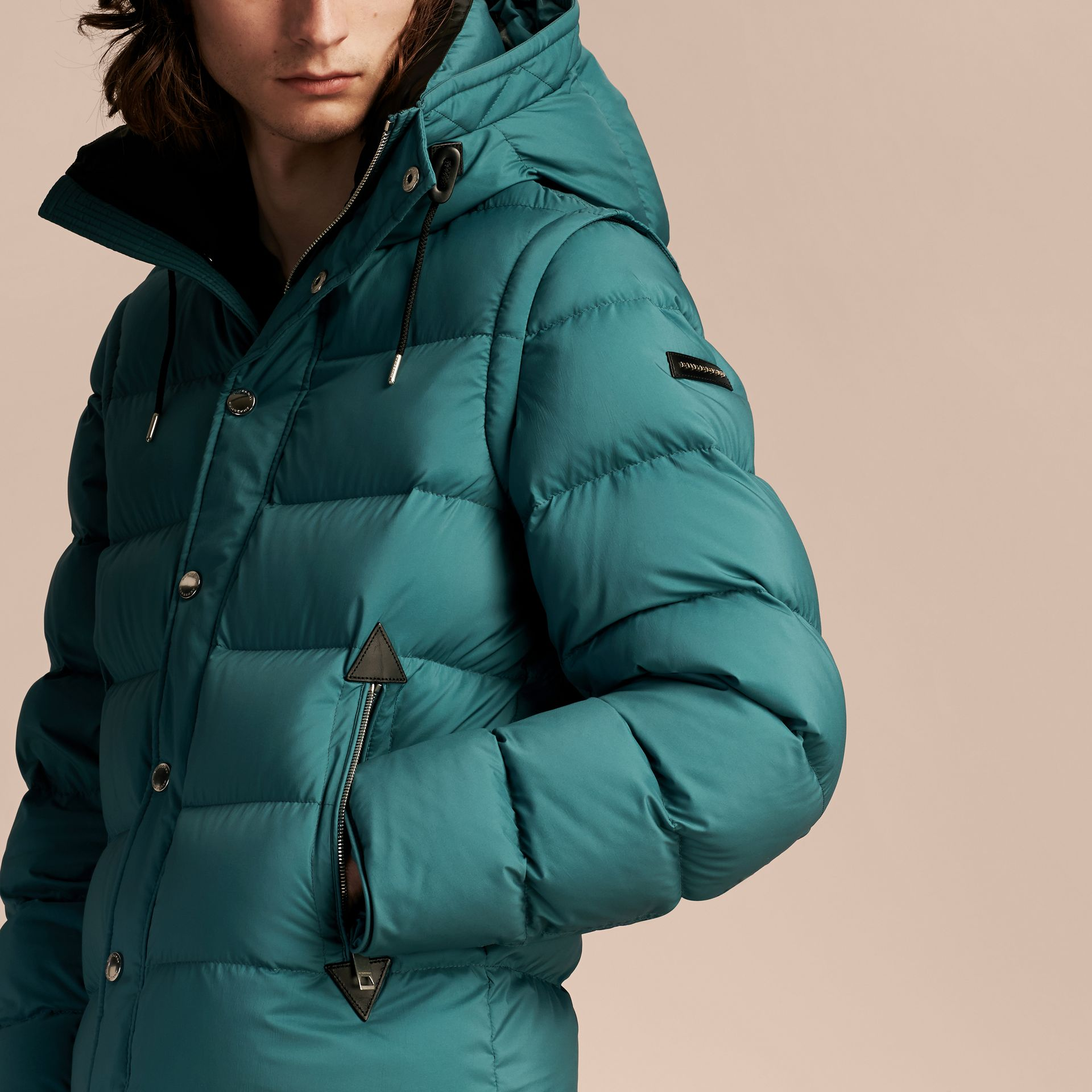 Down-filled Hooded Jacket with Detachable Sleeves in Dusty Teal - gallery image 5