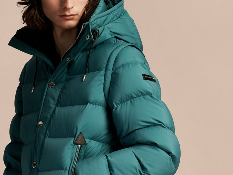 Down-filled Hooded Jacket with Detachable Sleeves in Dusty Teal - cell image 4