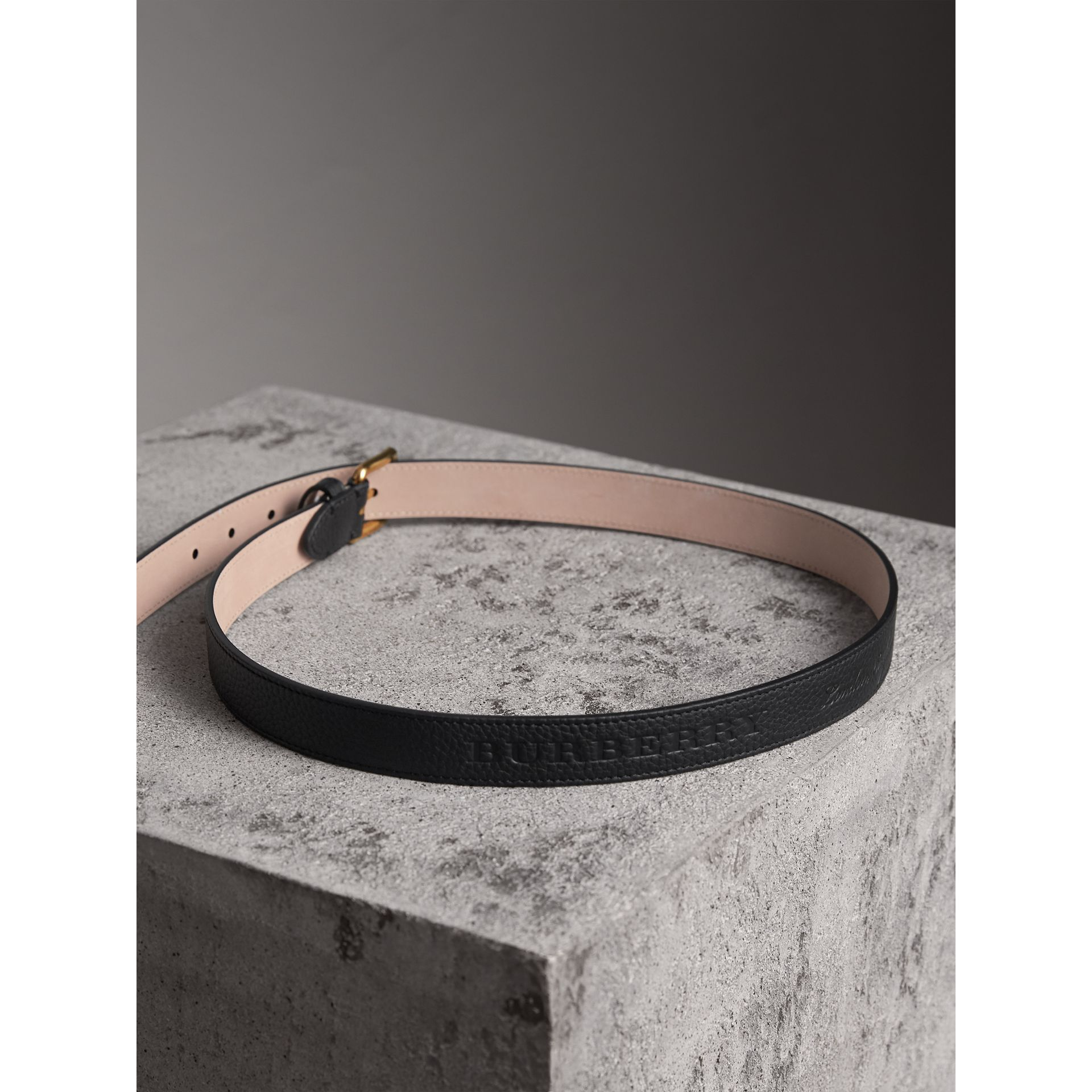 Embossed Leather Belt in Black - Women | Burberry United Kingdom - gallery image 3