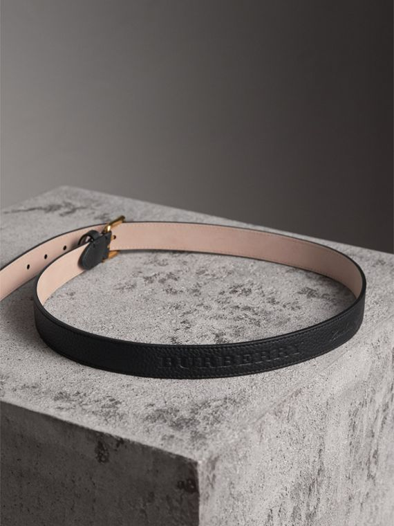 Embossed Leather Belt in Black - Women | Burberry United States - cell image 3