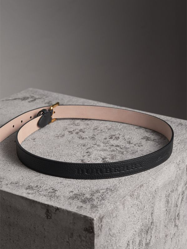 Embossed Leather Belt in Black - Women | Burberry - cell image 3