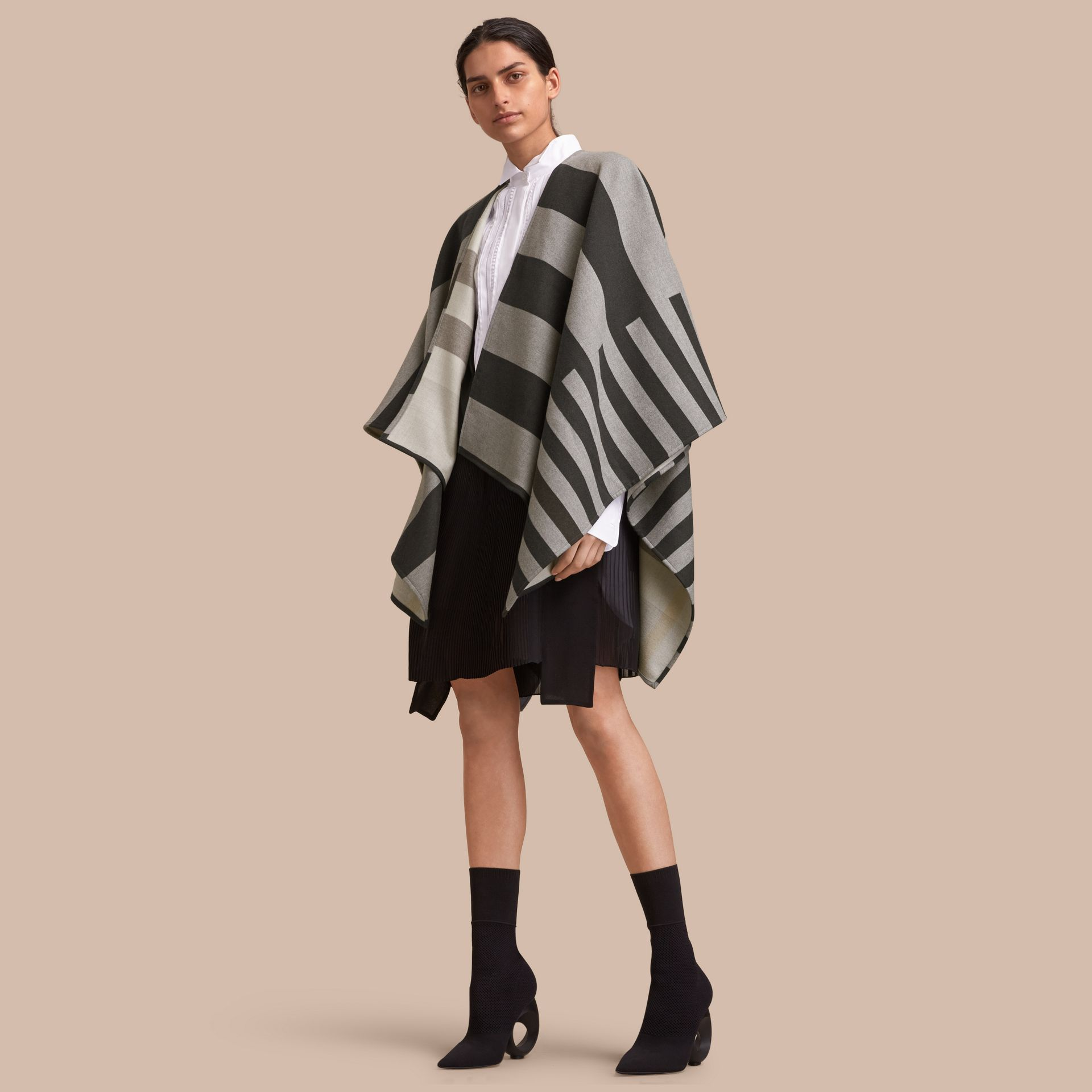 Reversible Stripe and Check Merino Wool Poncho in Grey - Women | Burberry Canada - gallery image 1