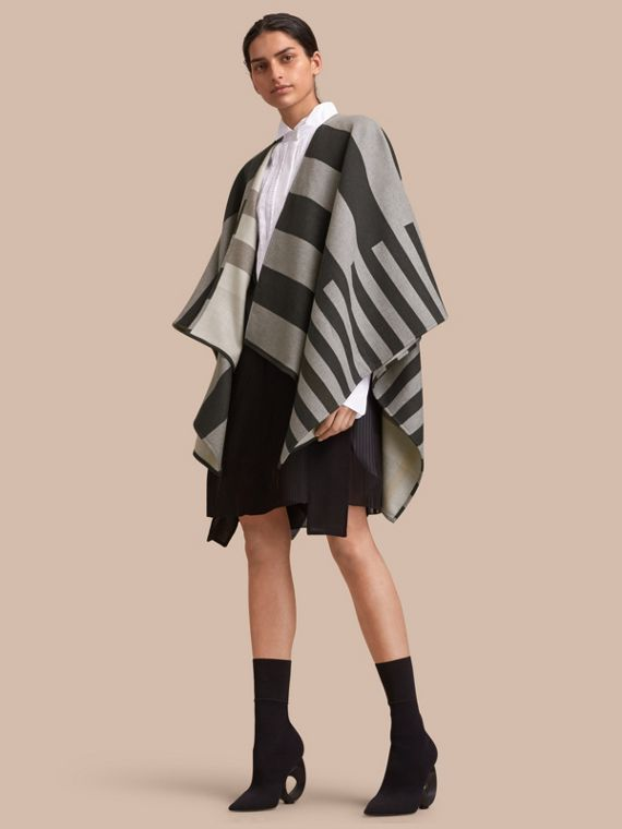 Reversible Stripe and Check Merino Wool Poncho in Grey
