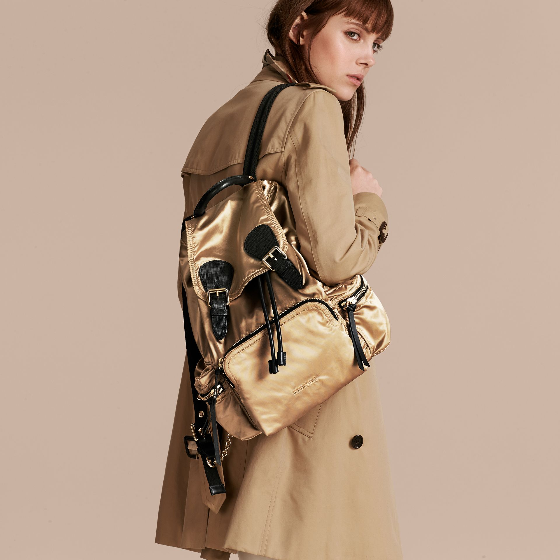 The Medium Rucksack in Two-tone Nylon and Leather Gold/black - gallery image 3