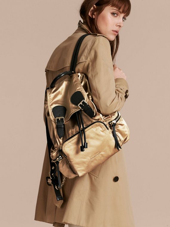 The Medium Rucksack in Two-tone Nylon and Leather Gold/black - cell image 2