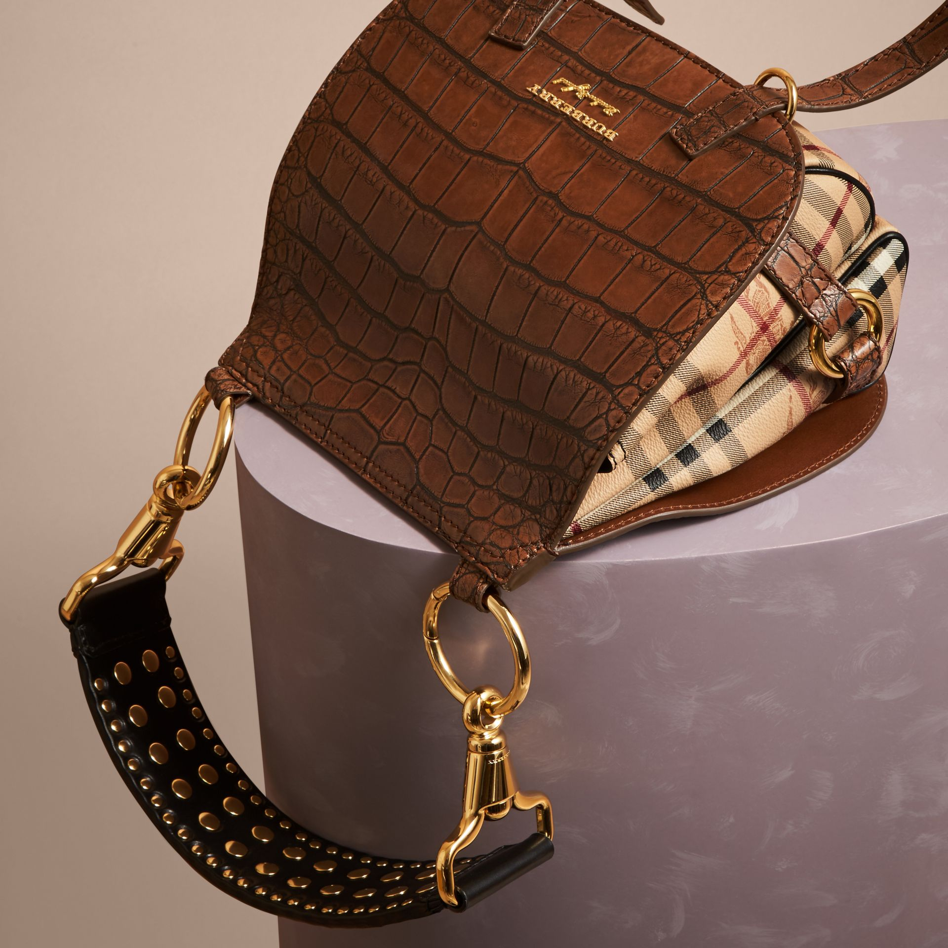 Russet brown The Bridle Bag in Alligator and Haymarket Check - gallery image 6