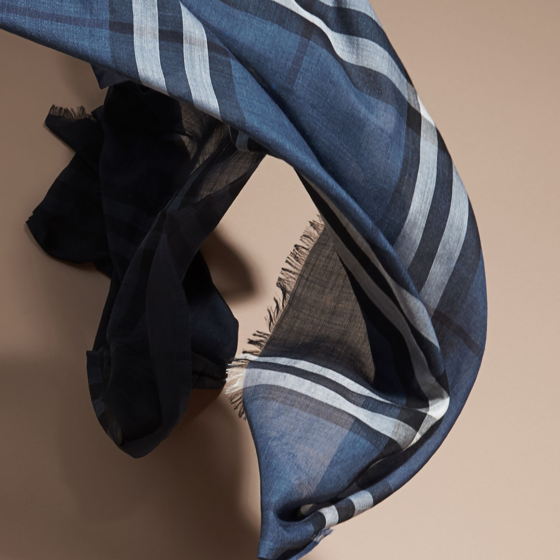 Cadet blue Ombré Check Lightweight Wool Silk Scarf Cadet Blue - gallery image 4