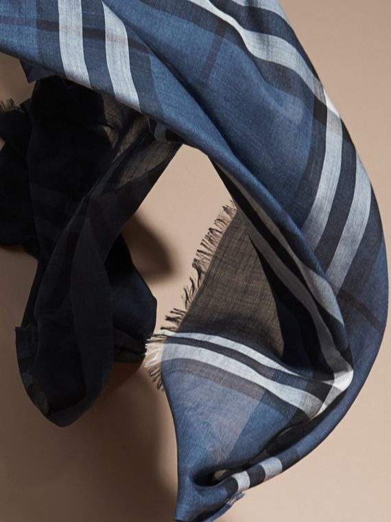 Cadet blue Ombré Check Lightweight Wool Silk Scarf Cadet Blue - cell image 3