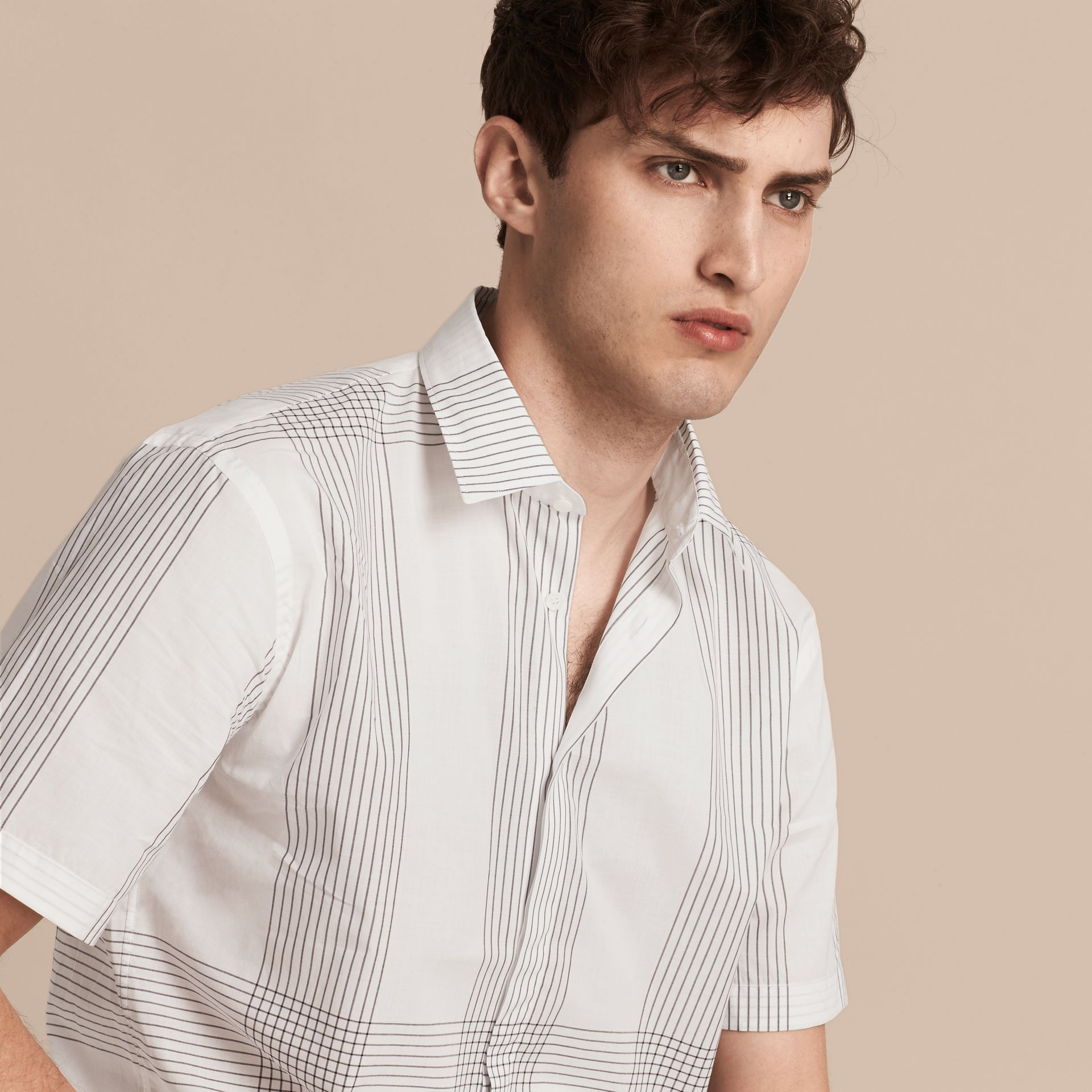 White Short-sleeved Check Cotton Shirt White - gallery image 5
