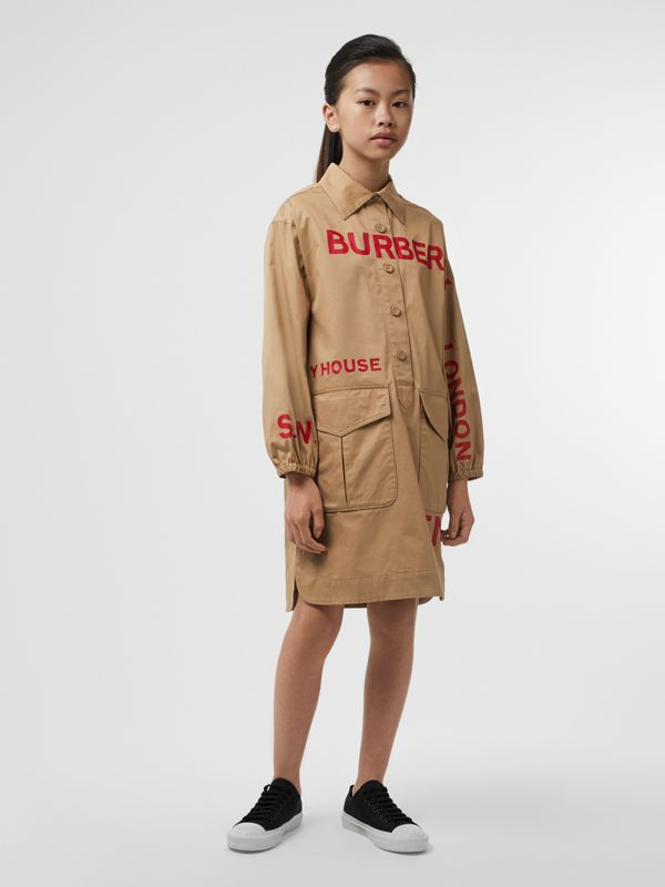 Horseferry Print Cotton Shirt Dress in Honey | Burberry - cell image 2