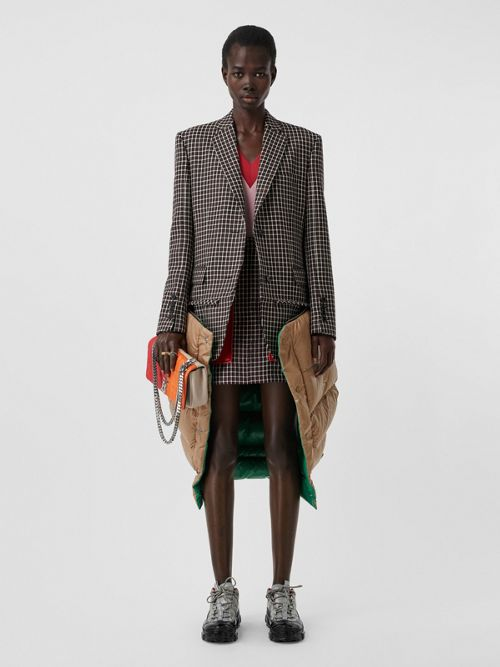Burberry Tartan Wool Tailored Jacket With Detachable Gilet In Bordeaux