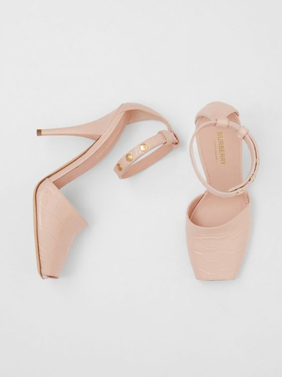 Monogram Motif Embossed Leather Peep-toe Sandals in Rose Beige