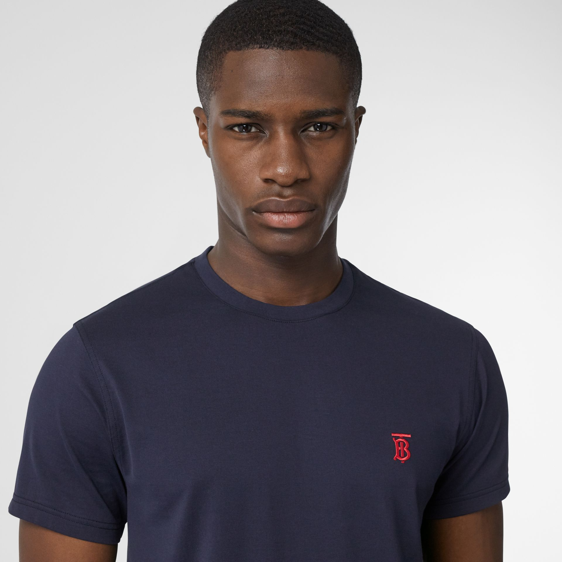 Monogram Motif Cotton T-shirt in Navy - Men | Burberry United Kingdom - gallery image 1