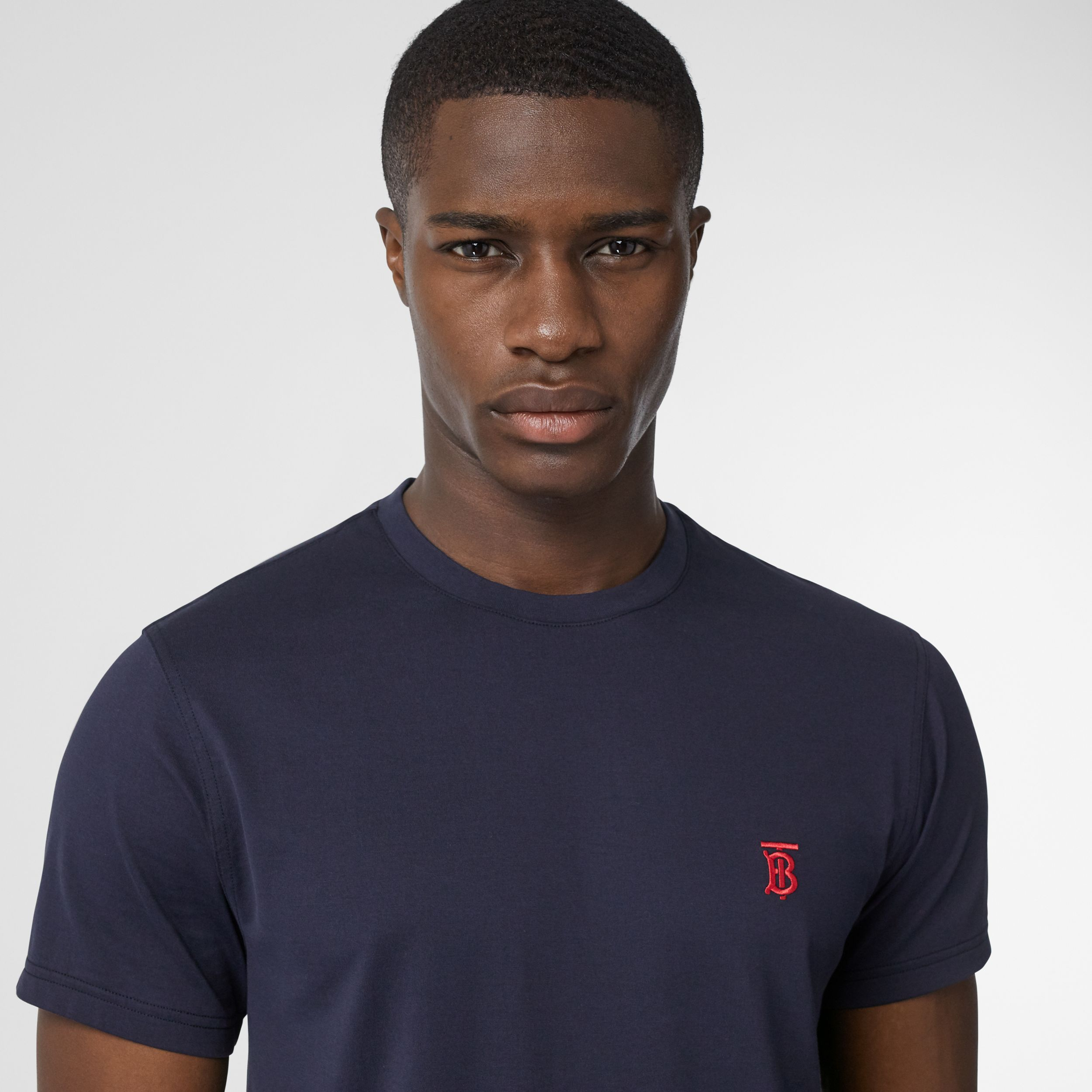 Monogram Motif Cotton T-shirt in Navy - Men | Burberry - 2