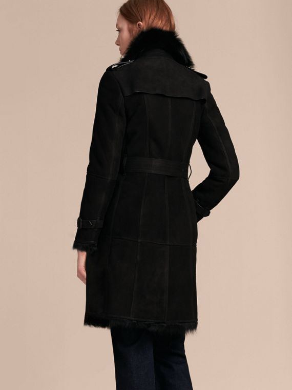 Trench coat in shearling (Nero) - Donna | Burberry - cell image 2