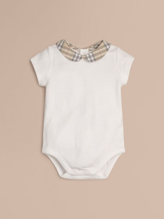Check Collar Bodysuit in White