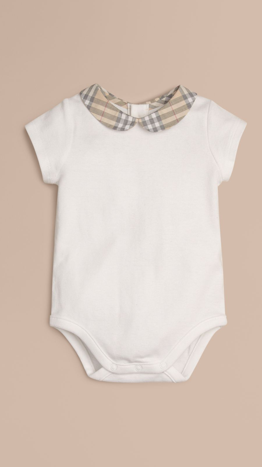 White Check Collar Bodysuit - Image 1