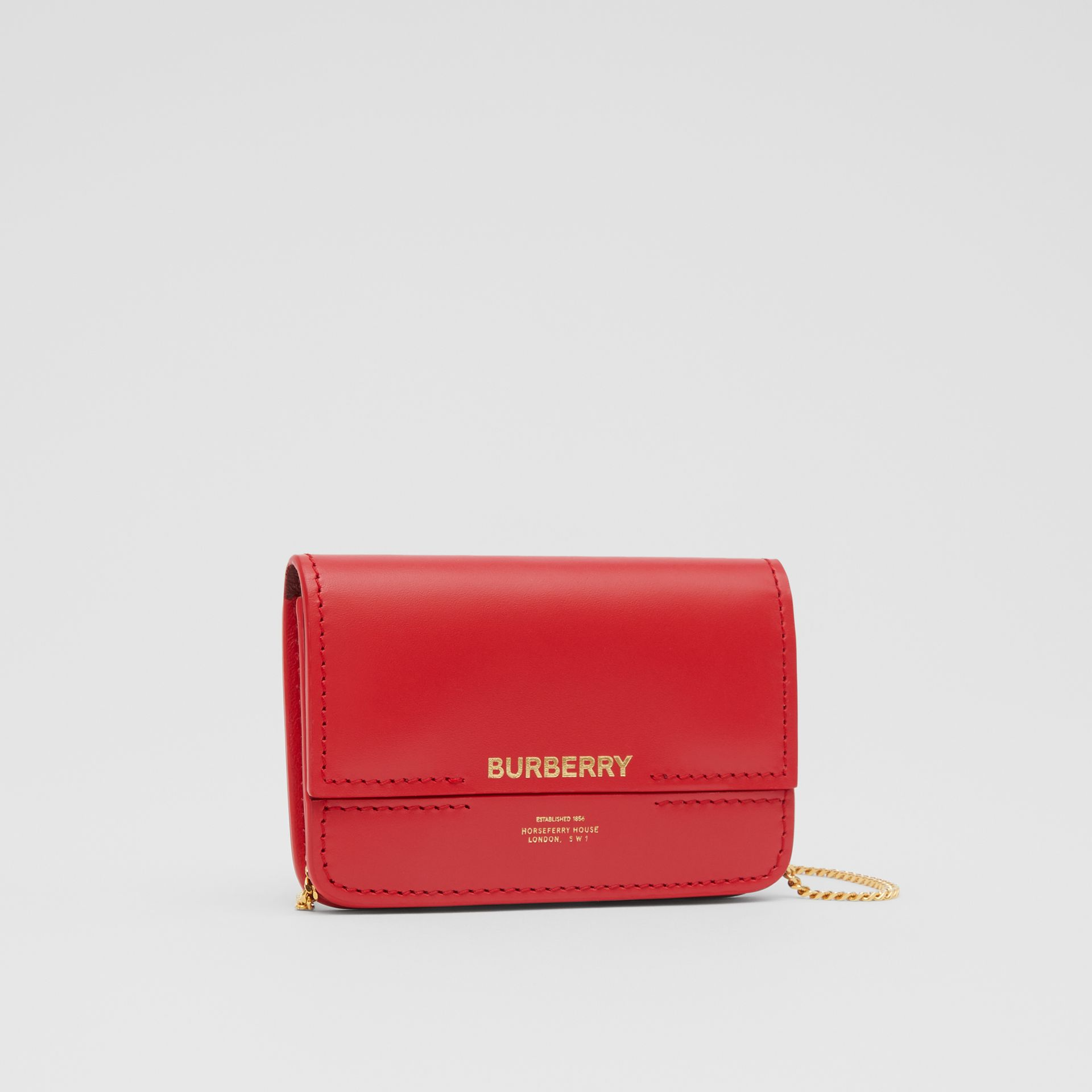 Two-tone Leather Card Case with Chain Strap in Red | Burberry - gallery image 6