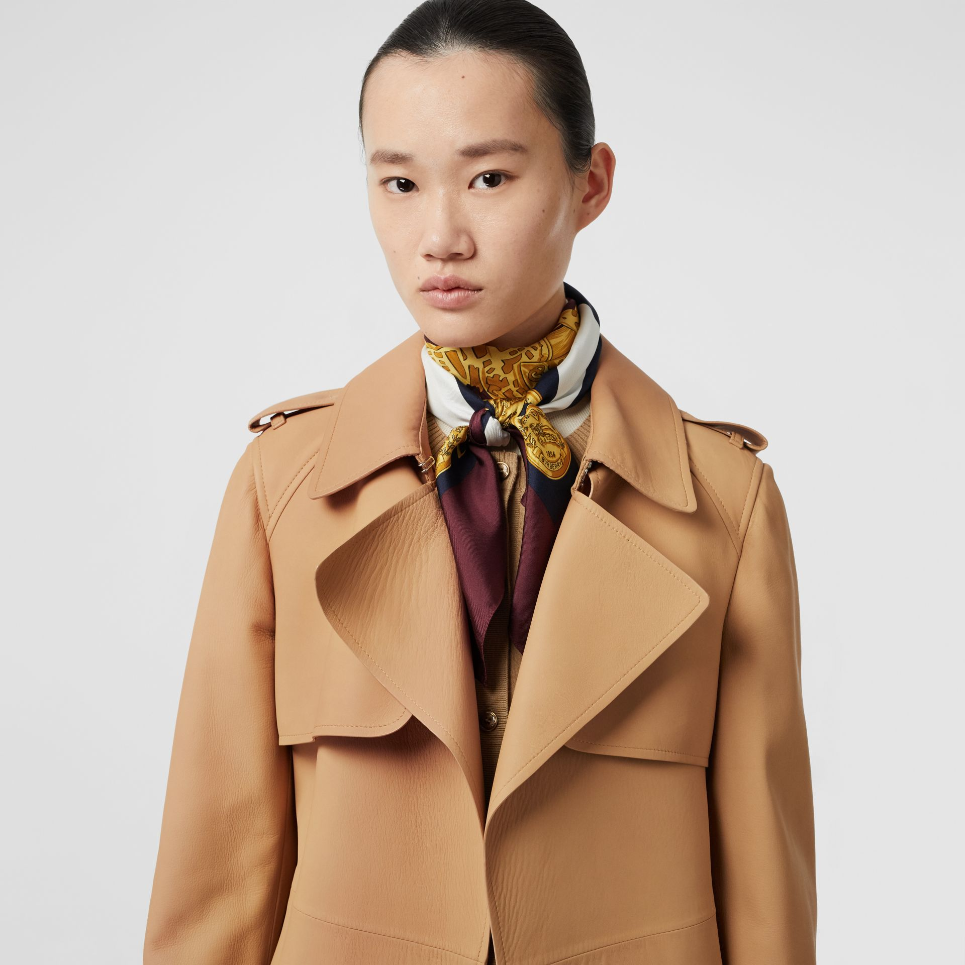 Lambskin Wrap Trench Coat in Caramel - Women | Burberry - gallery image 1