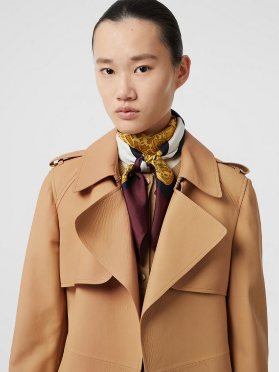 Lambskin Wrap Trench Coat in Caramel