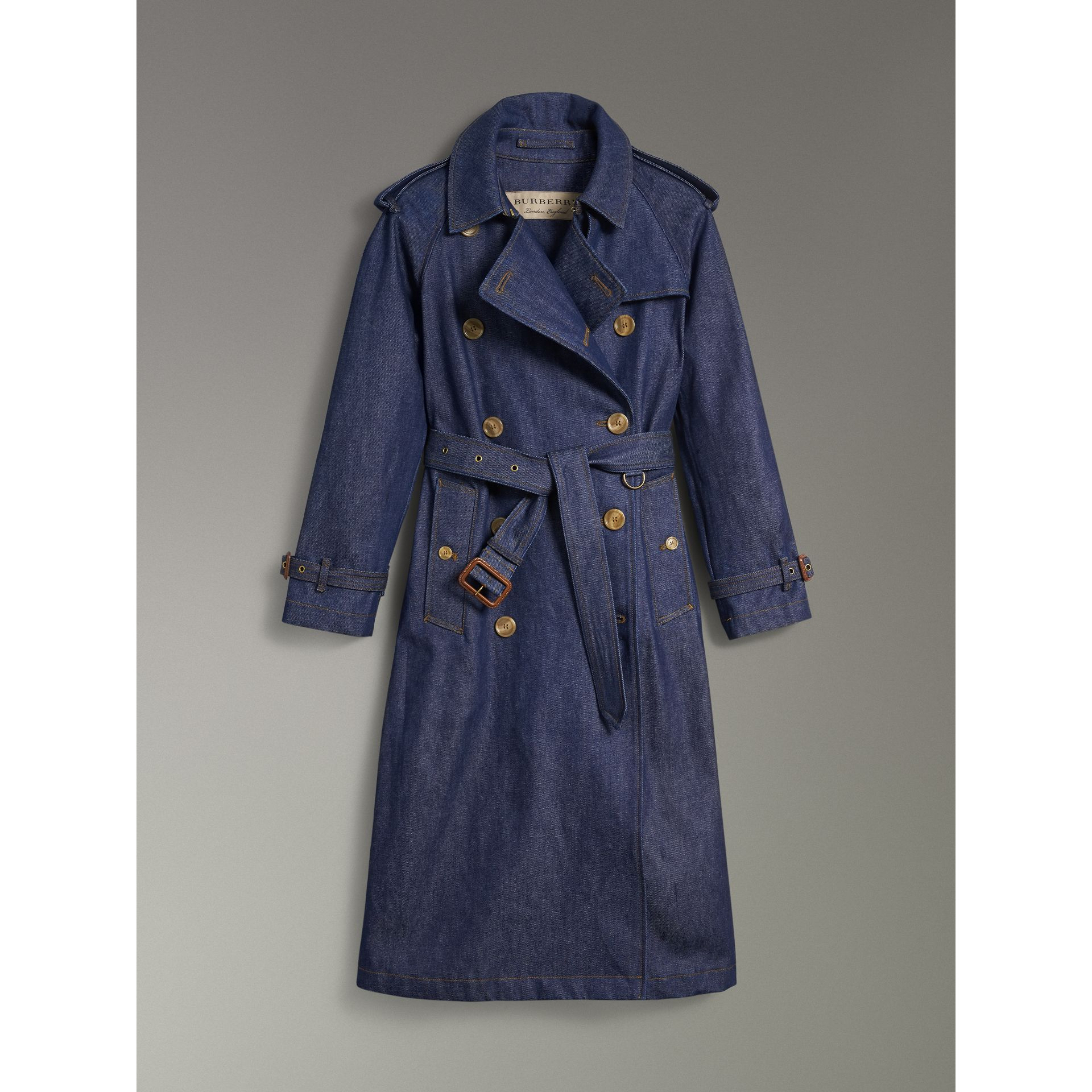 Denim Trench Coat in Dark Cobalt - Women | Burberry Canada - gallery image 3