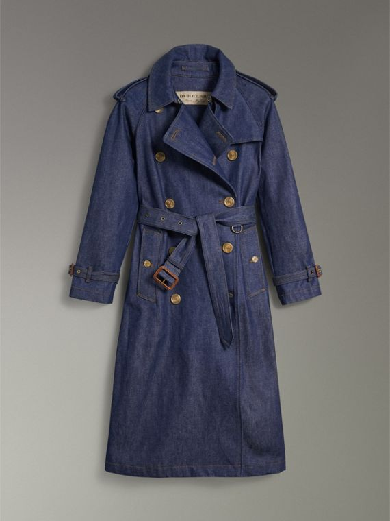 Denim Trench Coat in Dark Cobalt - Women | Burberry Singapore - cell image 3