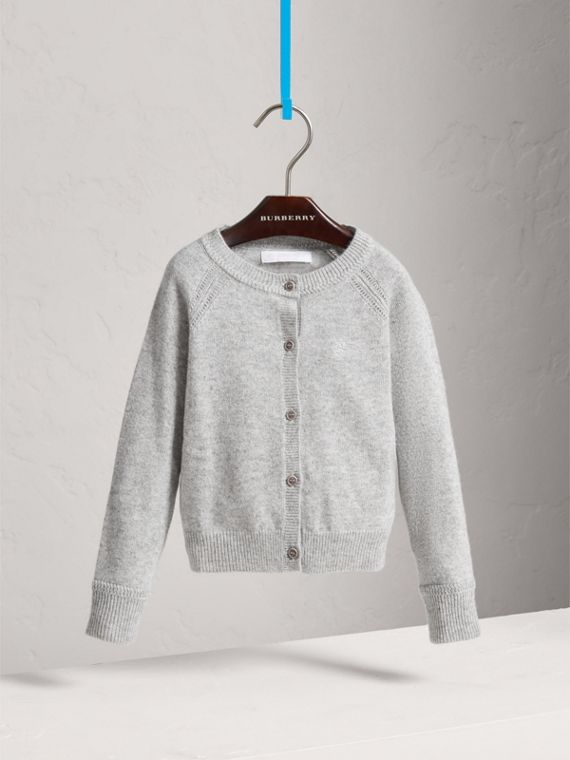 Check Detail Cashmere Cardigan in Light Grey Melange - Girl | Burberry United Kingdom - cell image 2