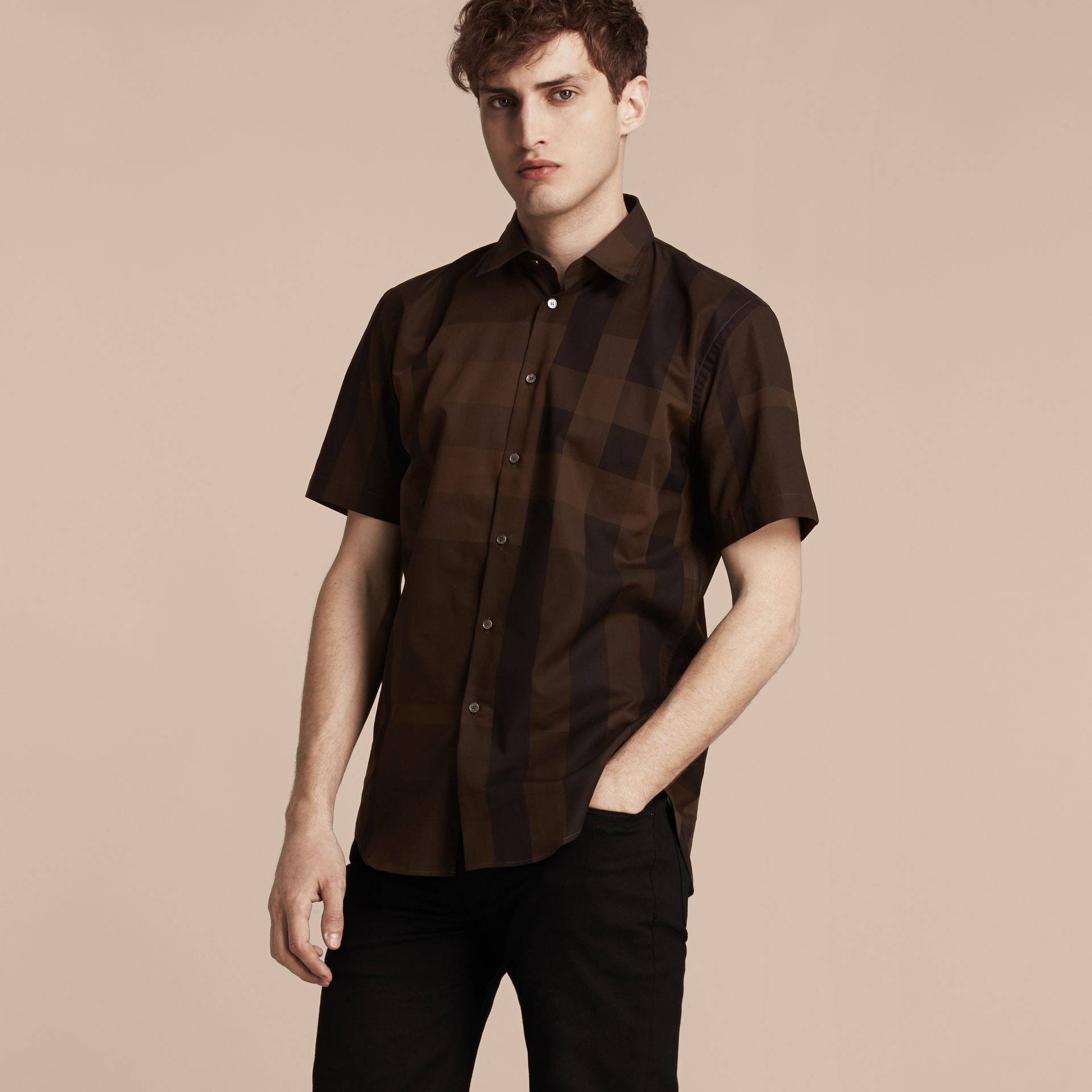 Chocolate check Short-sleeved Check Cotton Shirt Chocolate - gallery image 6
