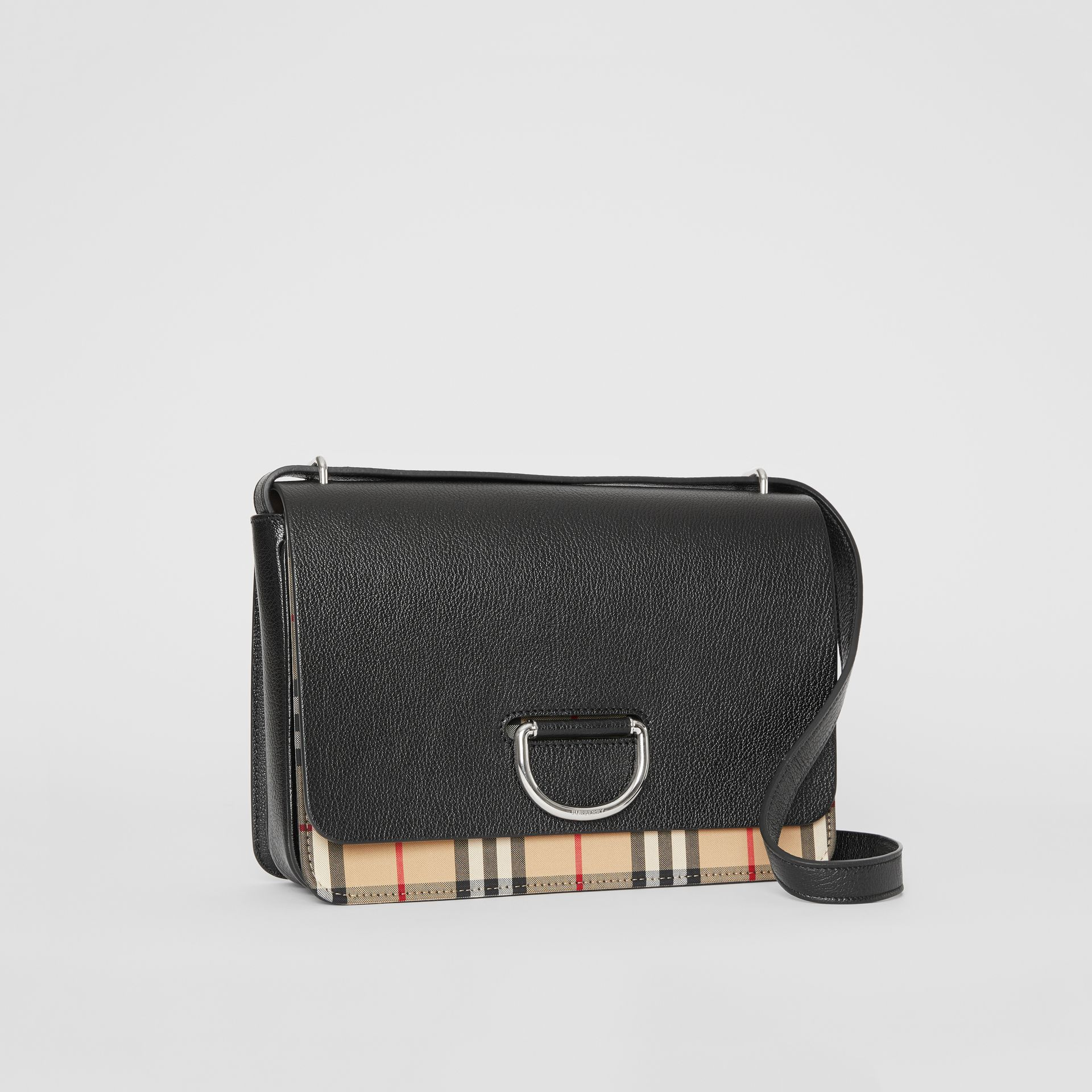 The Medium Vintage Check and Leather D-ring Bag in Black - Women | Burberry United States - gallery image 6