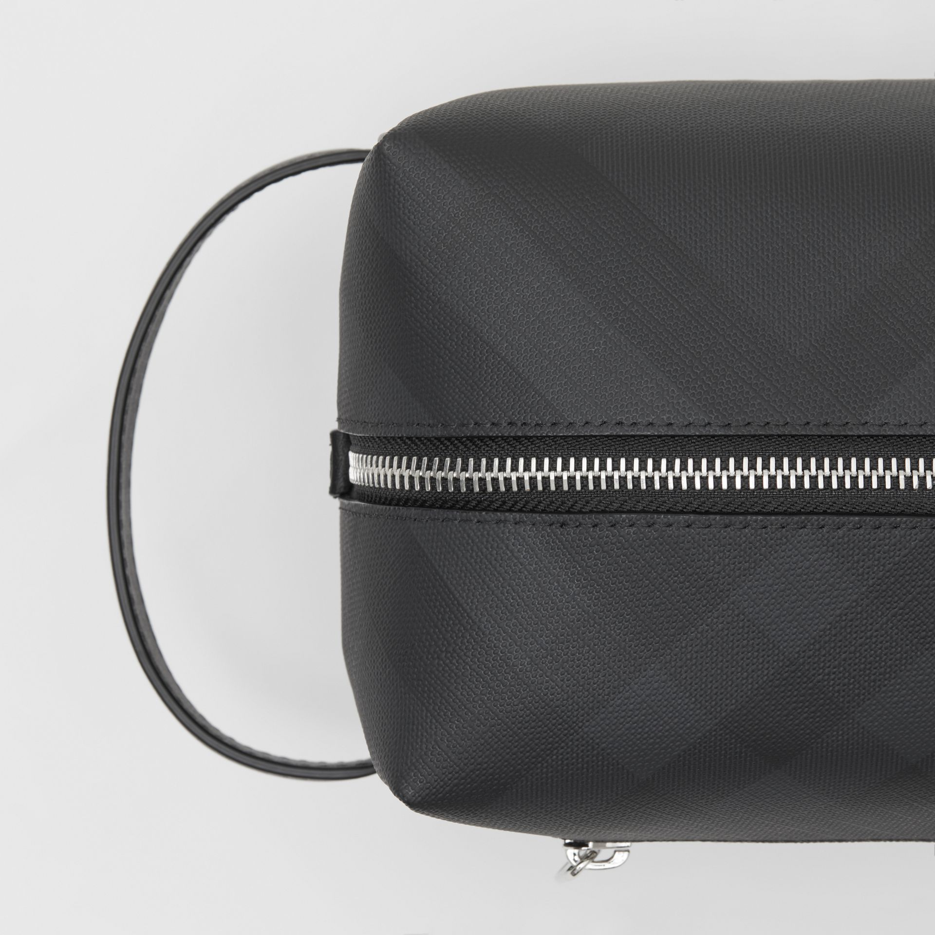 London Check and Leather Travel Pouch in Dark Charcoal - Men | Burberry United States - gallery image 1