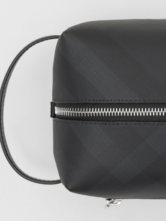 London Check and Leather Travel Pouch in Dark Charcoal - Men | Burberry United States - cell image 1