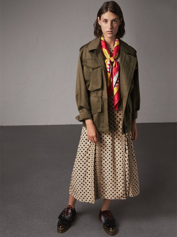 London Print Silk Square Scarf in Bright Yellow - Women | Burberry United Kingdom - cell image 2