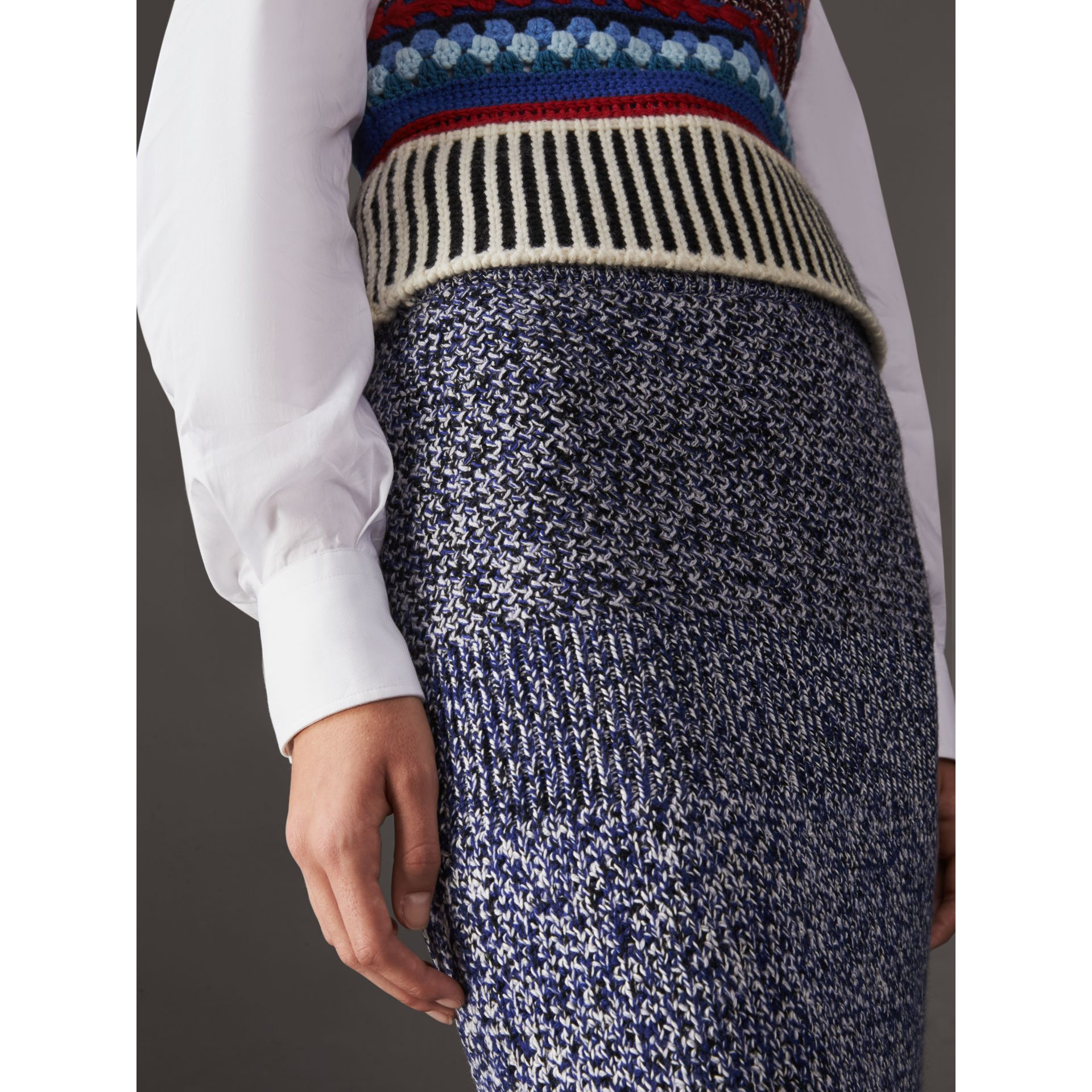 Cashmere Cotton Wool Blend Mouliné Skirt in Bright Navy/black - Women | Burberry Canada - gallery image 1