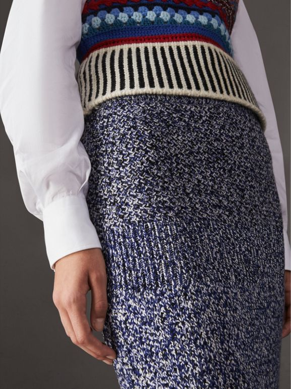 Cashmere Cotton Wool Blend Mouliné Skirt in Bright Navy/black - Women | Burberry - cell image 1