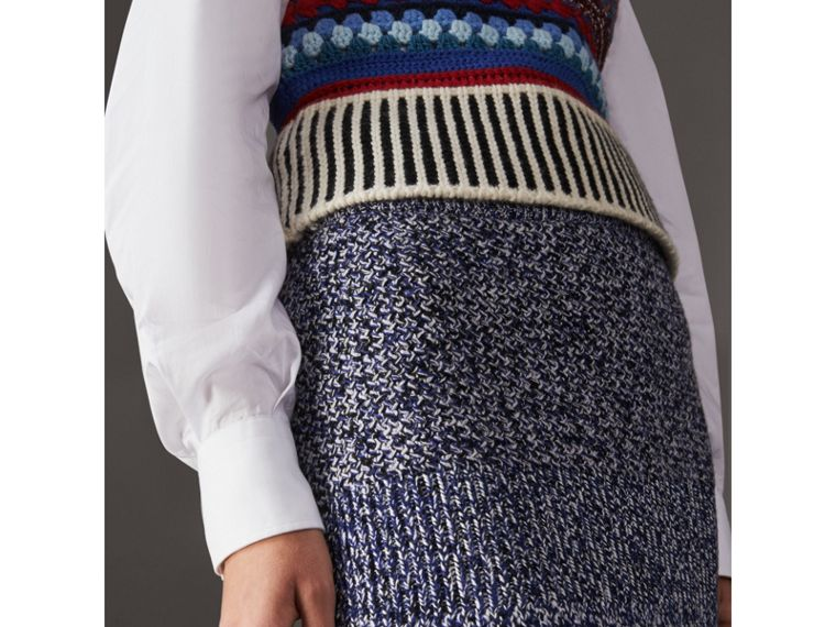 Cashmere Cotton Wool Blend Mouliné Skirt in Bright Navy/black - Women | Burberry Canada - cell image 1
