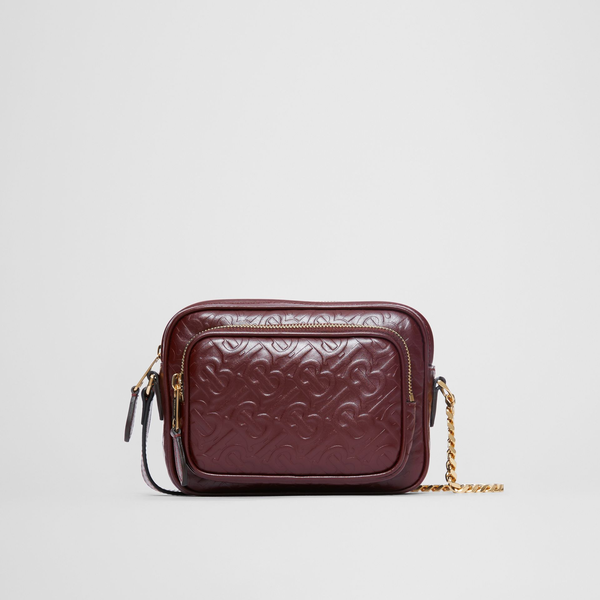 Monogram Leather Camera Bag in Dark Burgundy - Women | Burberry - gallery image 0