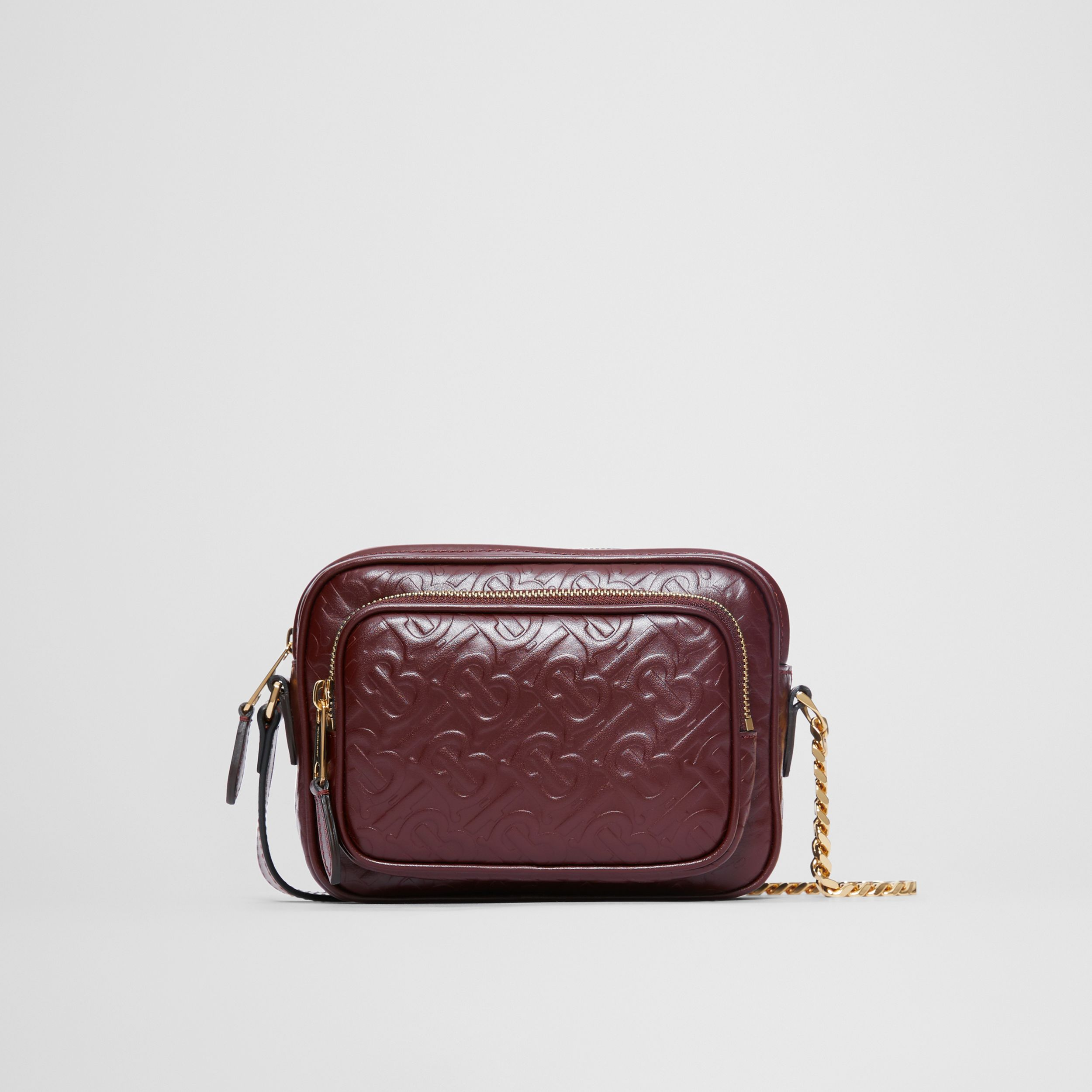 Monogram Leather Camera Bag in Dark Burgundy - Women | Burberry - 1