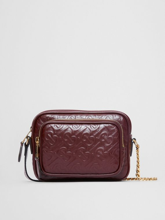 Monogram Leather Camera Bag in Dark Burgundy