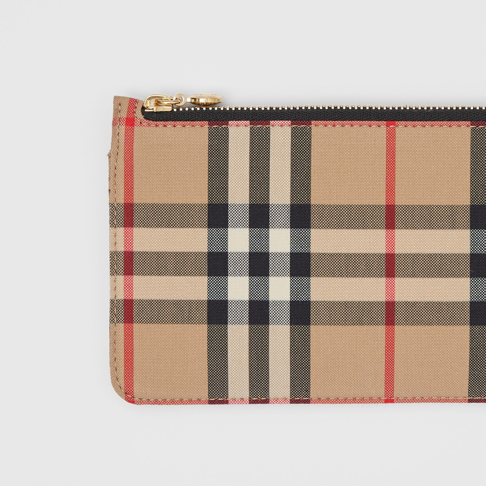 Vintage Check and Leather Phone Wallet in Black - Women | Burberry - gallery image 1